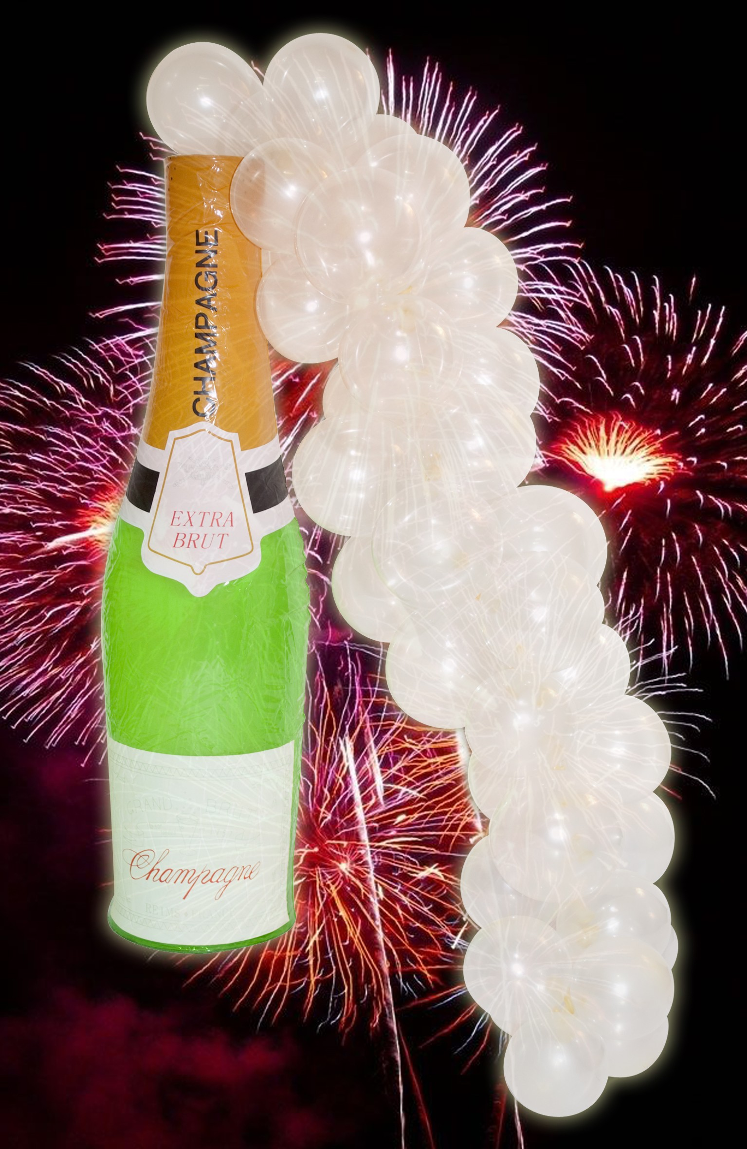 73CM Inflatable Champagne Bottle With Bubbles Kit